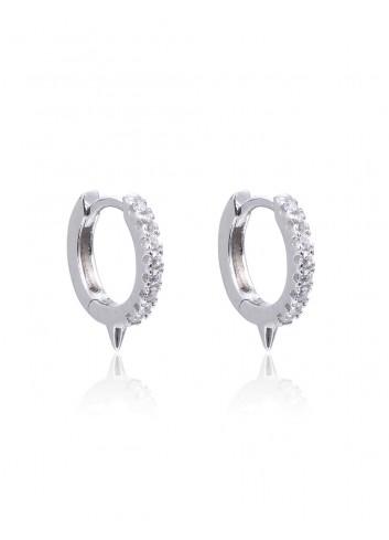 Boucles d'oreilles créoles PM  argent et zirconium